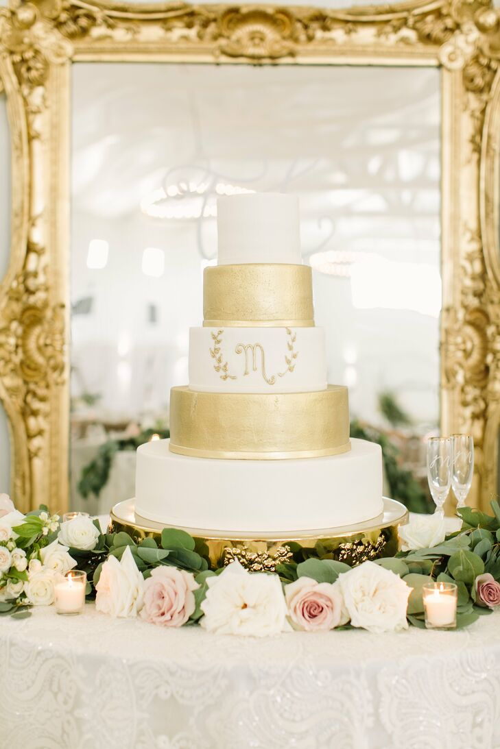 White and Gold Tiered Wedding Cake with Initial
