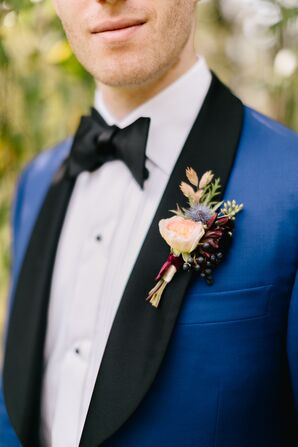 Groom with Peony Boutonniere and Blue Suit