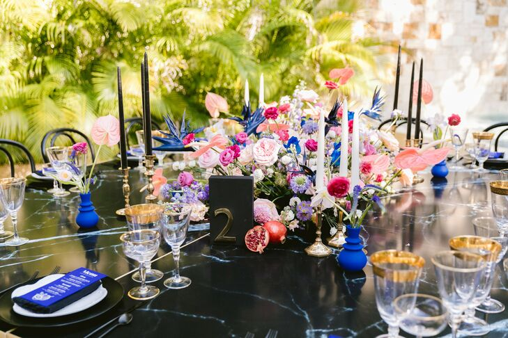Black-and-Blue Tablescape at Reception in Tulum, Mexico