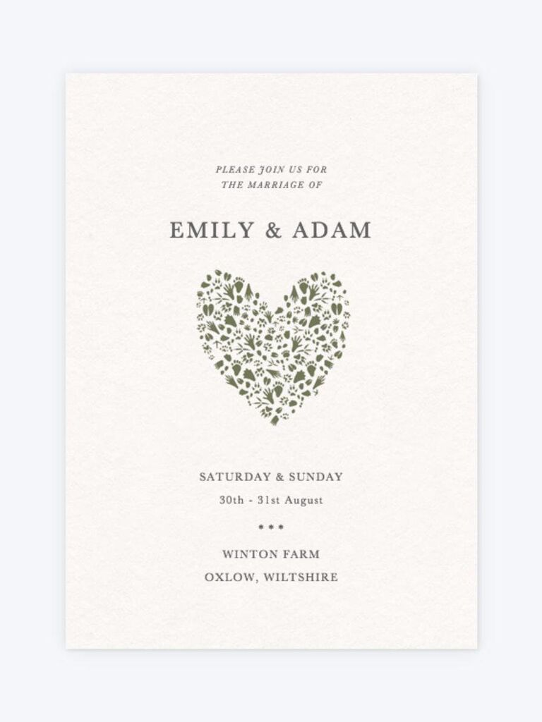 Rustic heart wedding invitation