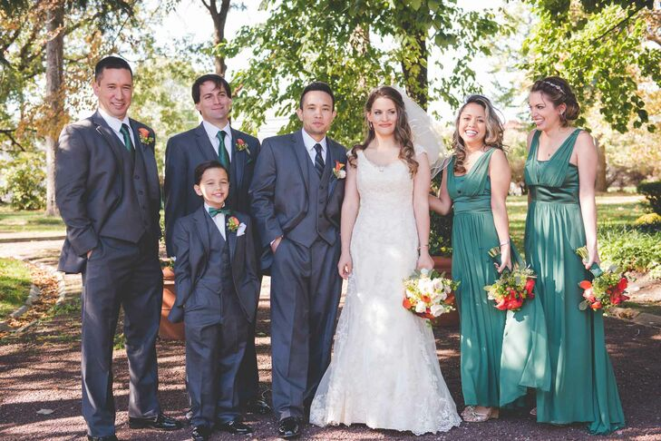 The bridesmaids wore floor-length jade dresses from Country Way Bridal. The chiffon dresses were complete with a satin waistband and shirred-front skirt.