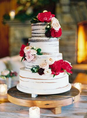 Three-tier Semi-Naked Cake with Red and Pink Roses and Burgundy Scabiosas