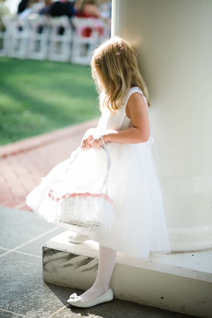 Timeless White Flower Girl Dress with Matching Basket
