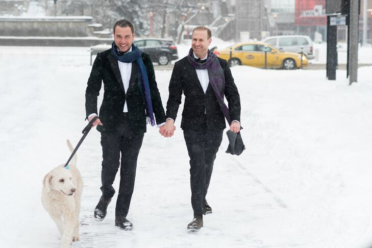 Mike and Michael walked to John Street Roundhouse in Toronto, Ontario, hand in hand, along with their dog, Georgia.