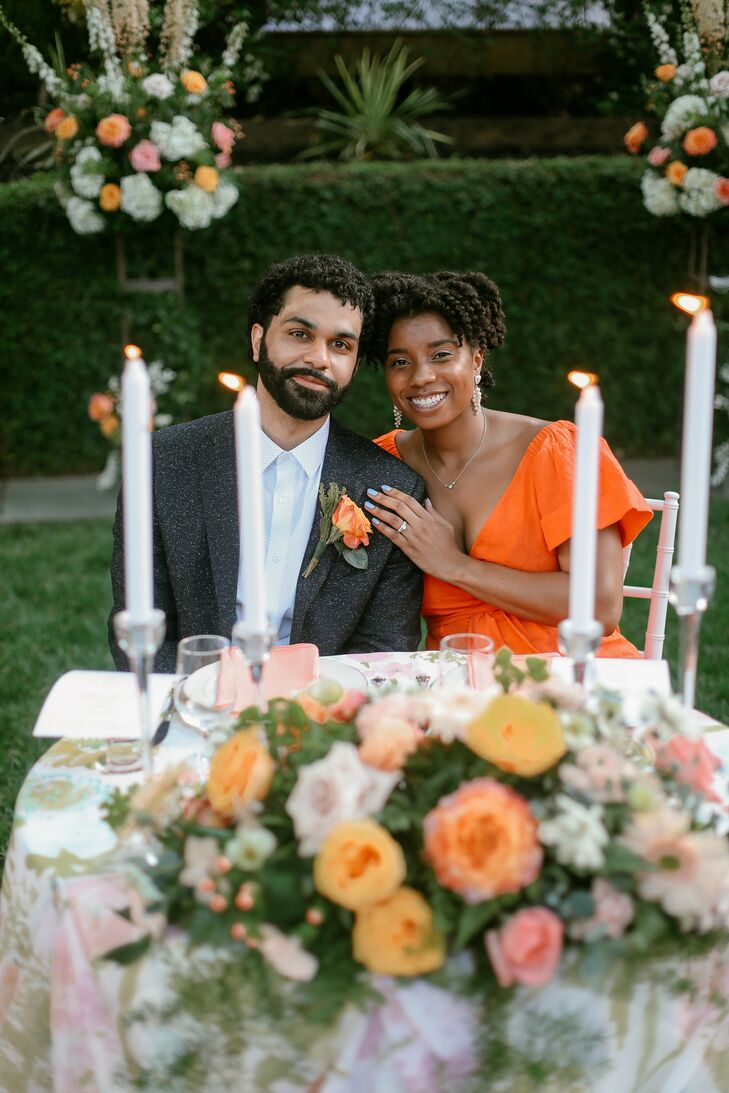 Couple at Sweetheart Table with Taper Candles in Atlanta, Georgia