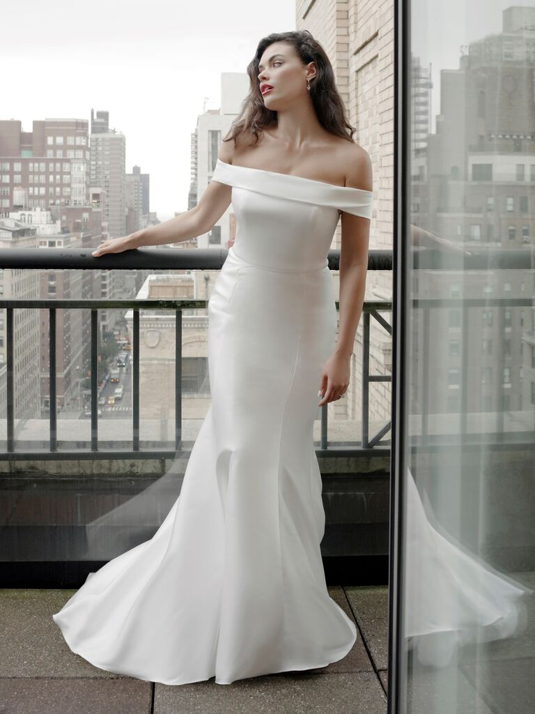 Catherine Kowalski Fall 2019 wedding dress with a trumpet skirt and off-the-shoulder bodice