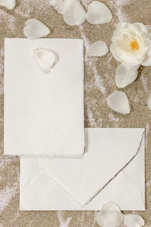Crisp White Invitation Suite for Tuscany Beach Wedding