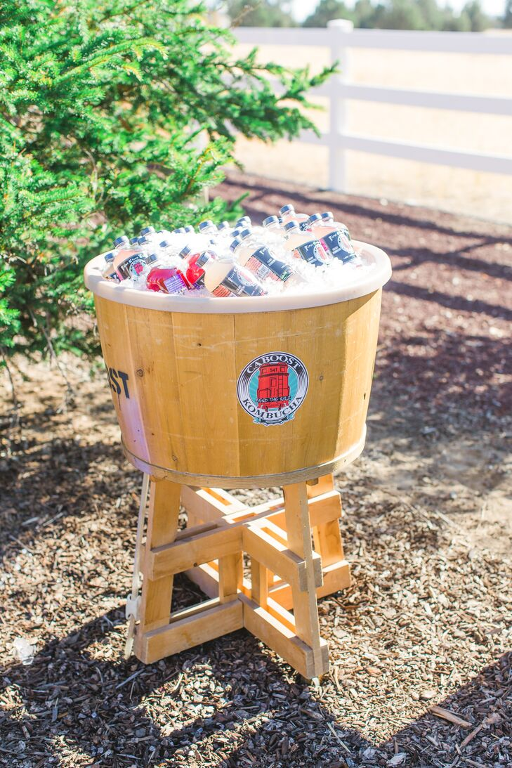 """""""For our beverages, Caboost Kombucha brewery provided our guests with a crafted assortment of sweet, tangy and delicious kombucha flavors, all showcased in their colorful bottles,"""" Abigail says."""
