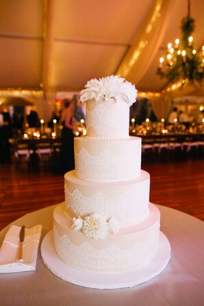 Tiered Cake with Lace and Pearl Details