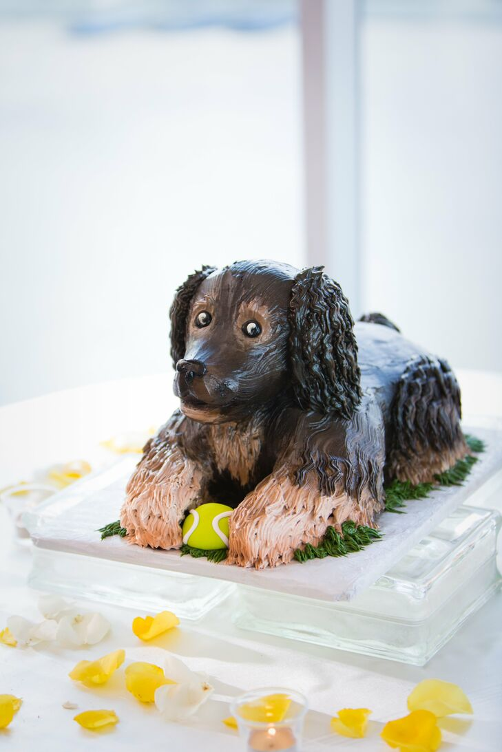 The chocolate groom's cake looked just like the couple's dog, Tucker, complete with a tennis ball between his paws!