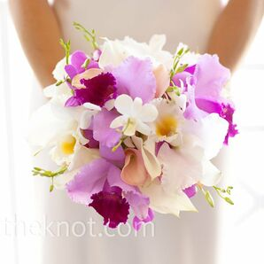 2aab5f3832a8 Fuchsia and White Orchid Bouquet