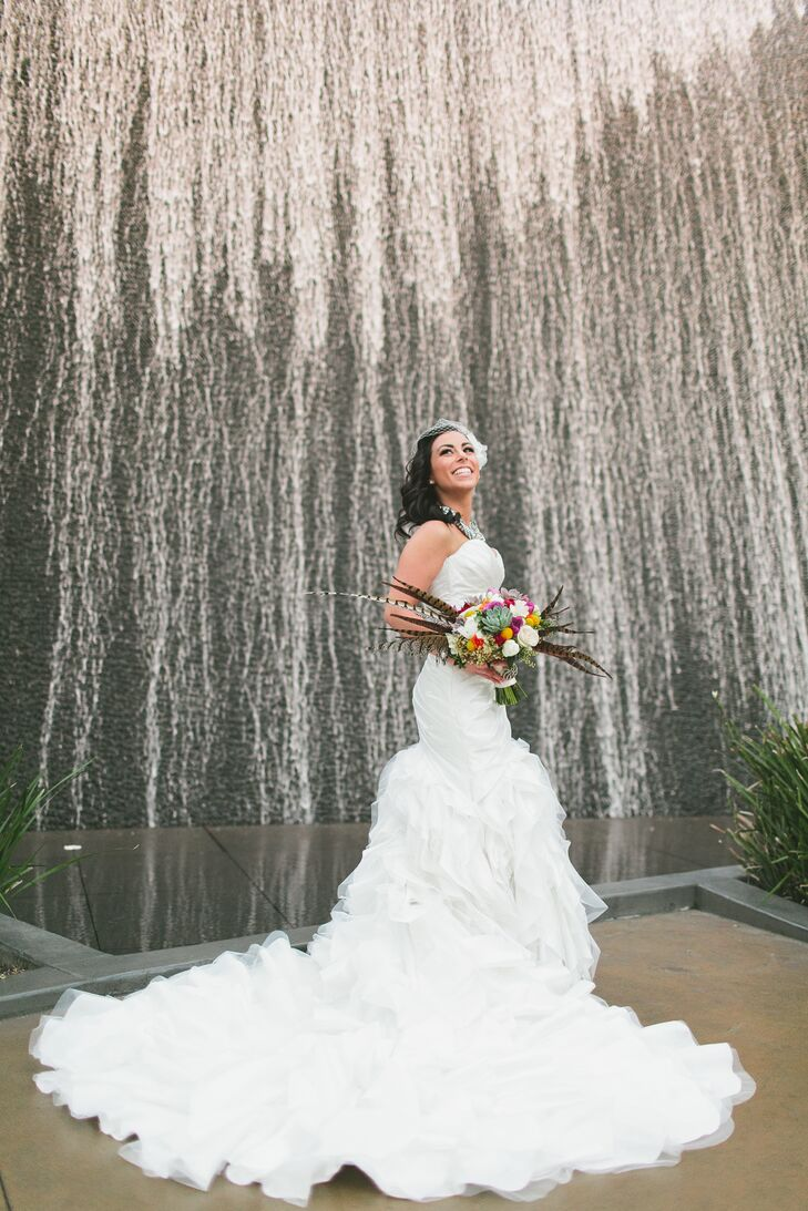 Kaitlyn thought she knew exactly what she wanted for her wedding dress, but with some help from her seamstress, she chose an unexpected style that worked best for her. The white mermaid-style Sottero Midgley dress had a perfect ruffled skirt that trailed elegantly in the back, which won Kaitlyn over.