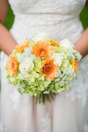 Orange Gerbera Daisy and Viburnum Bridal Bouquet