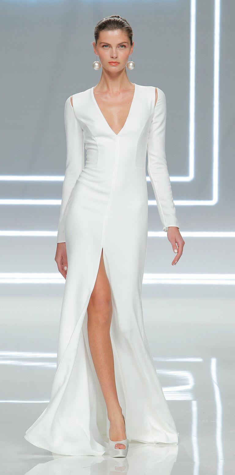 Long Sleeve Sleek Wedding Dresses