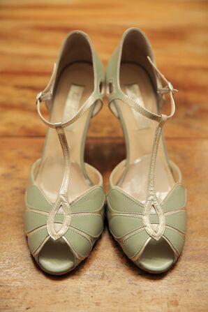 Mint Green Peep Toe Wedding Heels