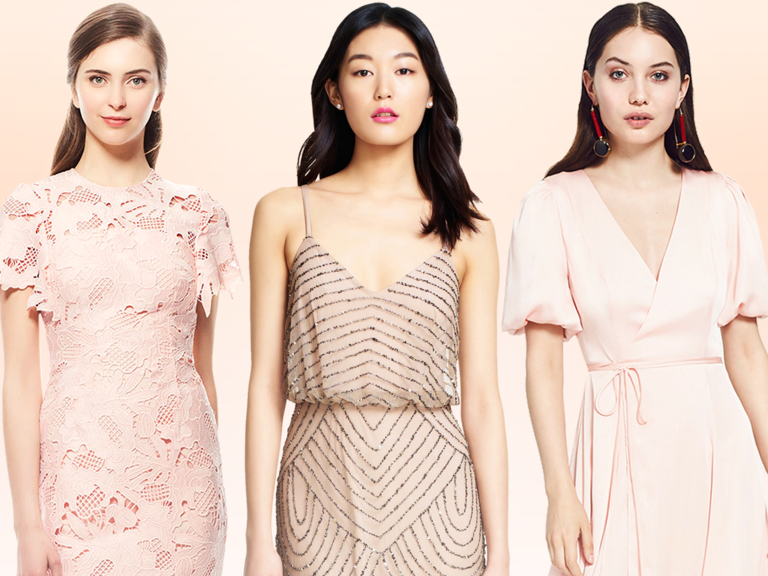 Blush Bridesmaid Dresses During First Look With Bride