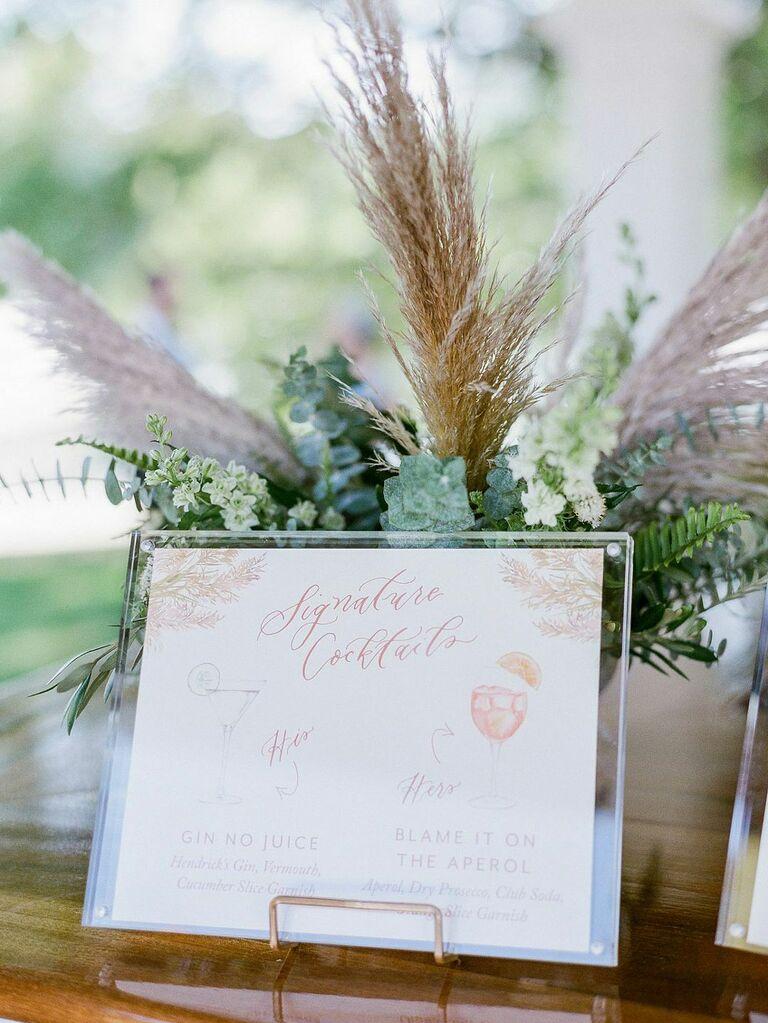 Seasonal signature cocktails at summer wedding