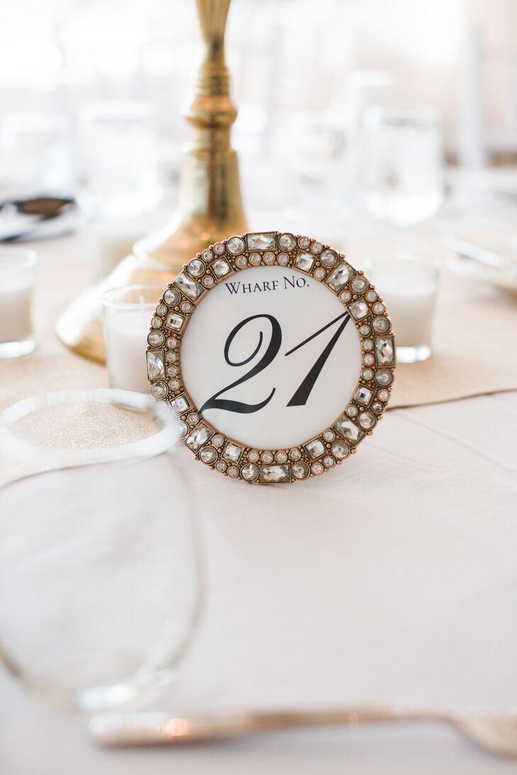 Glam Rhinestone-Framed Table Numbers