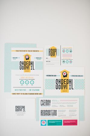Graphic Retro Yellow and Blue Stationery Suite