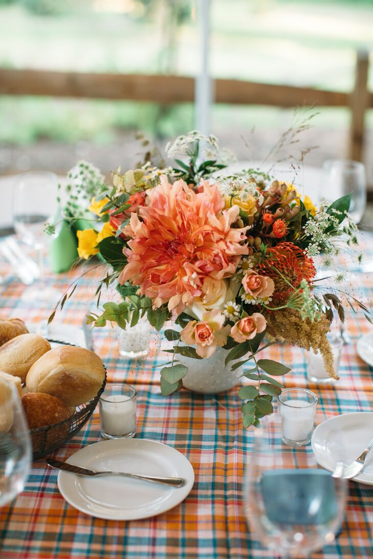 Textured Dahlia, Protea and Wildflower Centerpiece