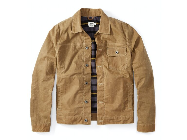 Beige waxed trucker jacket fourth anniversary gift idea