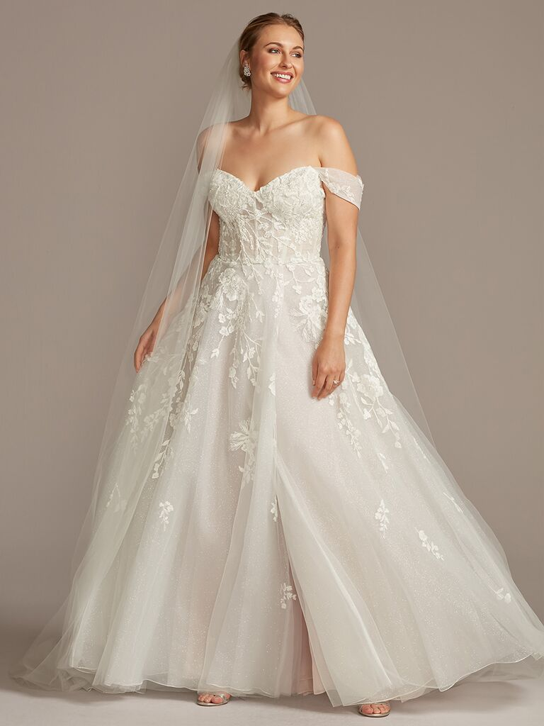 Galina Signature off-the-shoulder A-line wedding dress