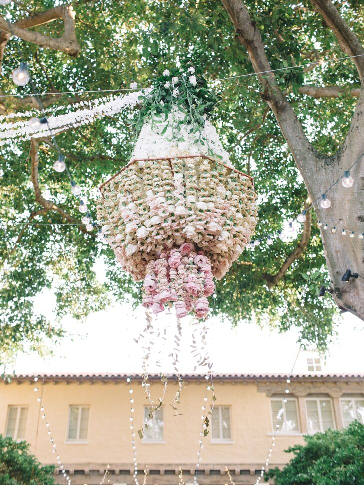 Dramatic Pink Rose Chandelier