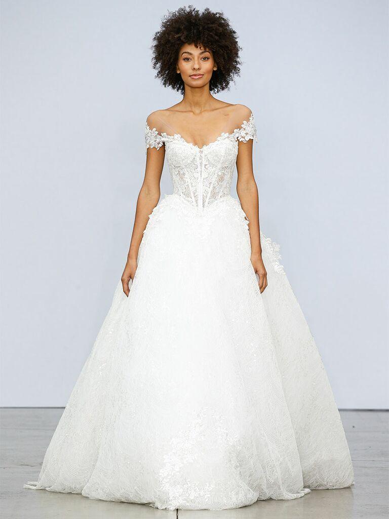 Pnina Tournai wedding dress off-the-shoulder ball gown