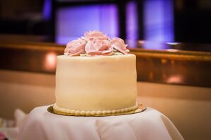 Cream-Colored Wedding Cake With Sugar Flowers