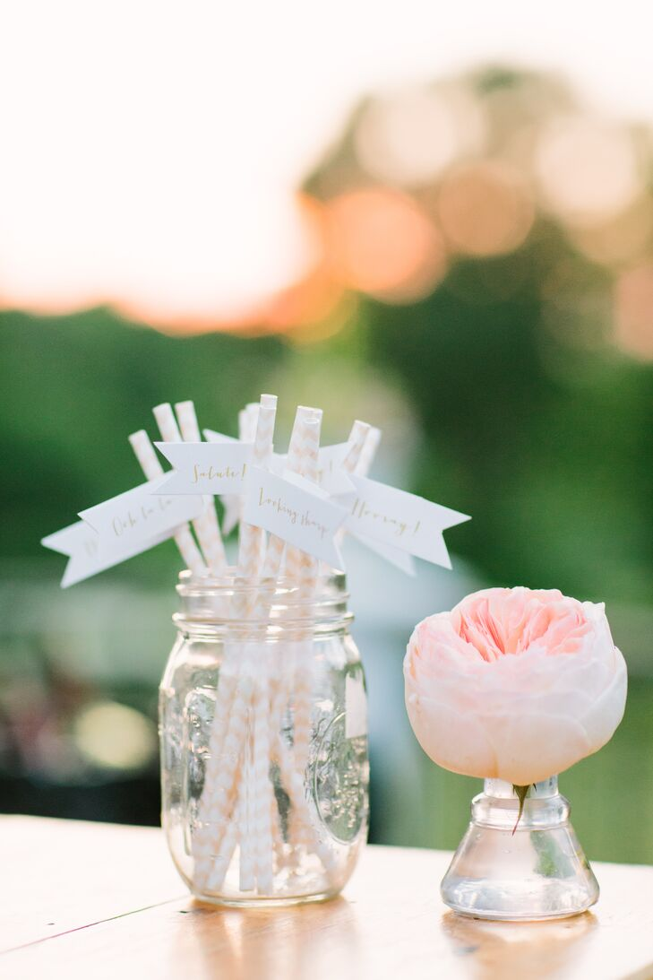 Peach-Striped Straws With Miniature Flags