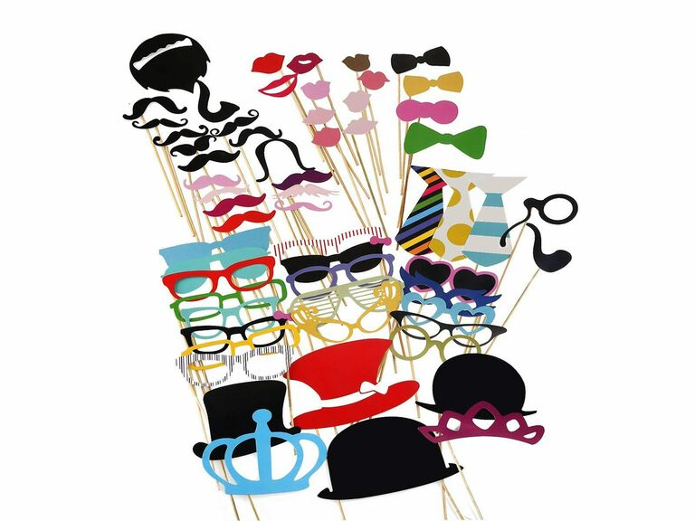 Wedding photo booth hats, lips, glasses and other accessories