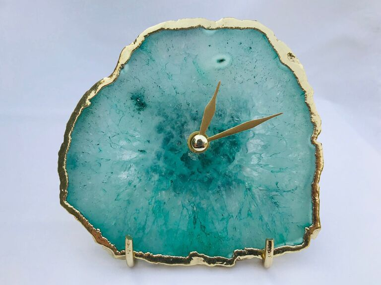 Agate table clock first anniversary gift
