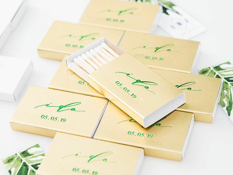 Custom matches wedding favor