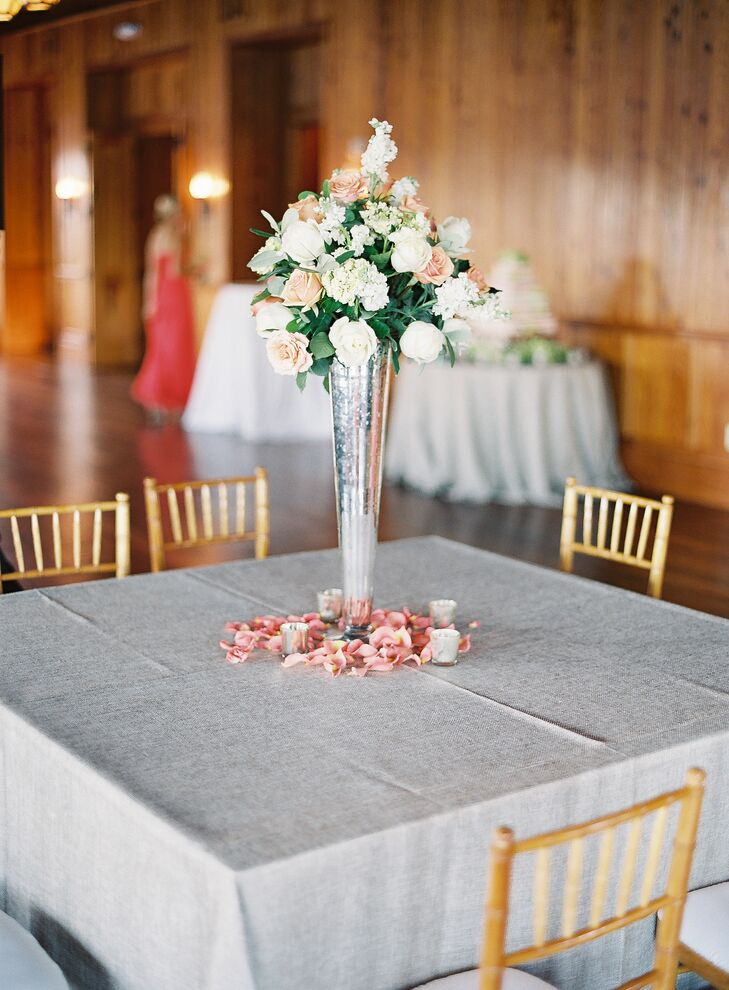Elegant Peach and White Centerpiece