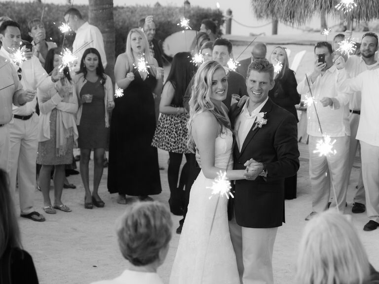 First dance surrounded by sparklers