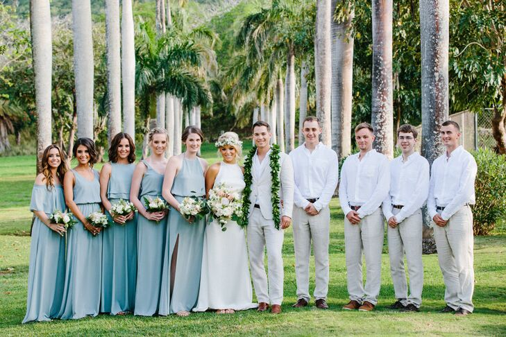 While the bridesmaids wore coordinating Show Me Your Mumu dresses in a teal green, Clayton and his groomsmen sported beige linen suits from Zara.
