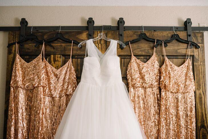 Glam Rose Gold Sequin Bridesmaid Dresses