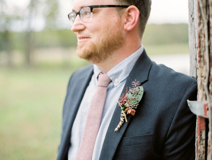 Seeded Eucalyptus and Red Succulent Boutonniere