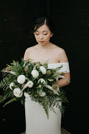 White-and-Green Fern Bouquet for North Carolina Wedding