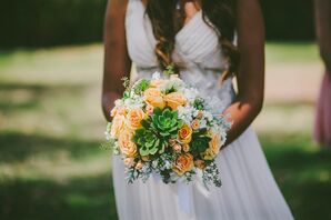 Rose, Succulent and Stock Bouquet