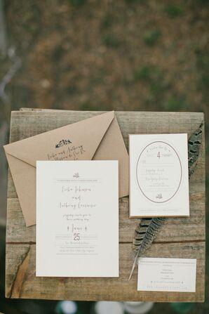 Simple Invitation with Kraft Paper Envelope