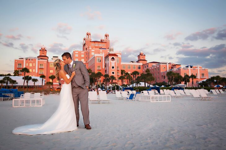 "Sam and Kelly chose The Loews Don Cesar Hotel for multiple reasons. One added benefit? Their reception's tented pavilion was in a tropical garden that stood ""right in front of the beach but not on the beach,"" says Kelly. It provided privacy and an easier walk for guests."