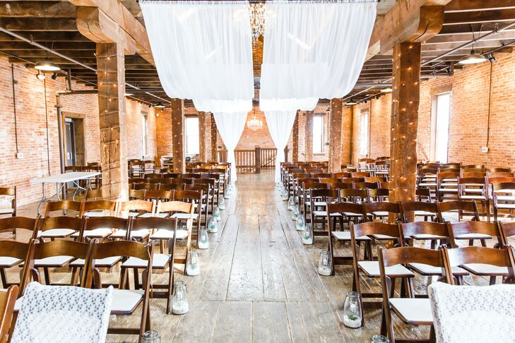 Rustic Barn Ceremony with Exposed Wooden Beams