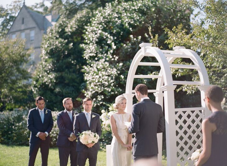 Couple Saying Vows at Outdoor Ceremony