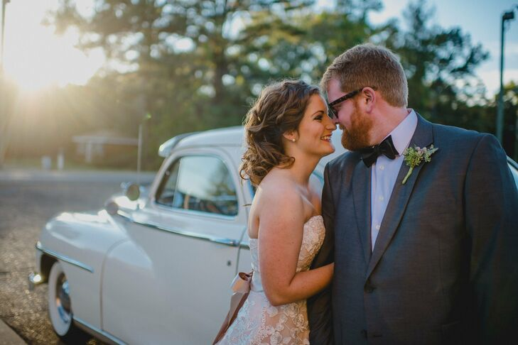 The celebration's natural elements were also reflected in Charley's look. He wore a boutonniere that was designed by Blooms with only seeded eucalyptus ad silver brunia wrapped in green ribbon.
