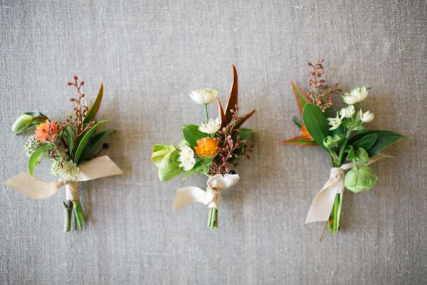 Bright Boutonnieres with Ivory Ribbon