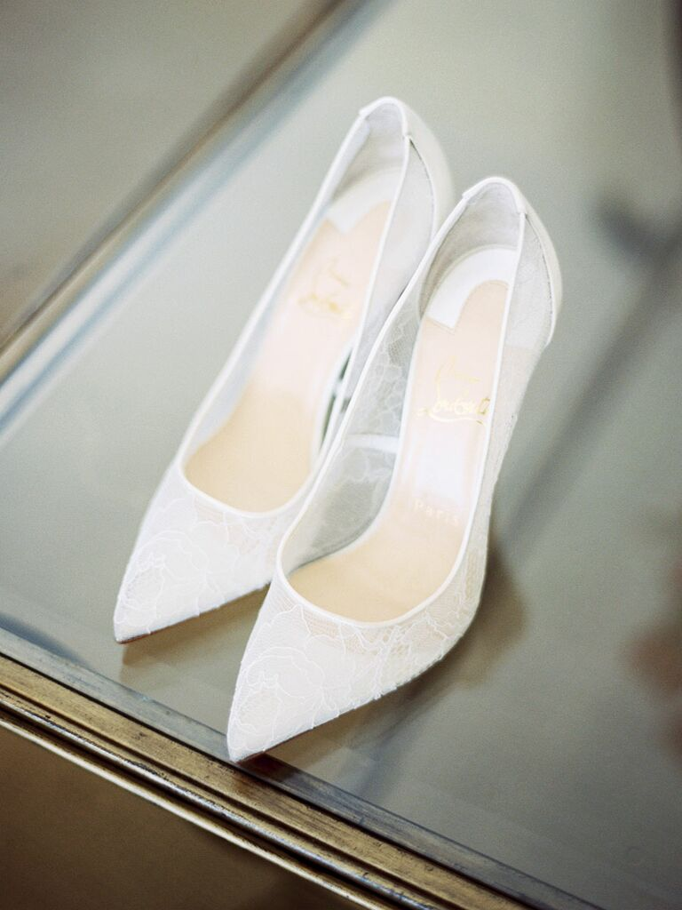 White lace high heel wedding shoes