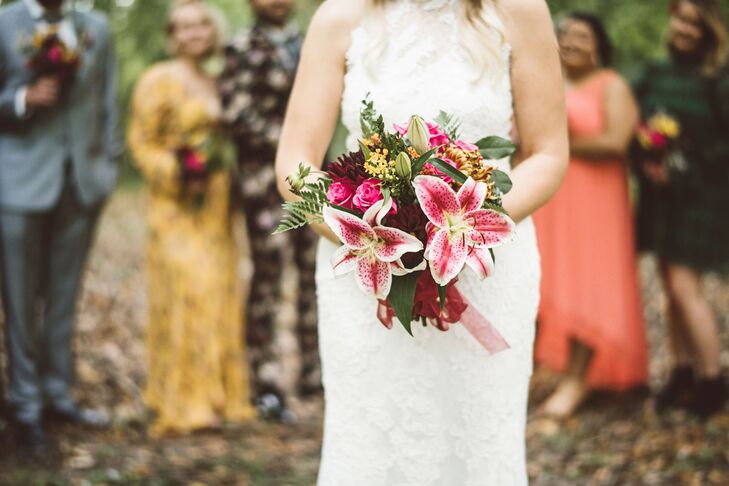 Colorful Bouquet of Lilies, Roses and Greenery