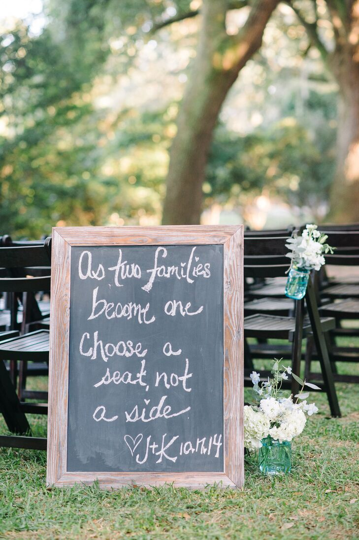 Handwritted Chalkboard Seating Sign