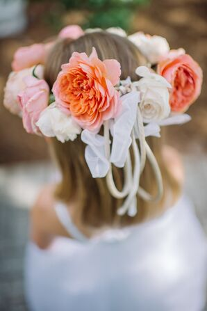 Coral and Ivory Rose Flower Crown